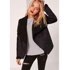 Faux shearling waterfall jacket